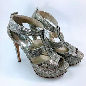 Michael Kors Berkley Platform Silver Glitter Heels